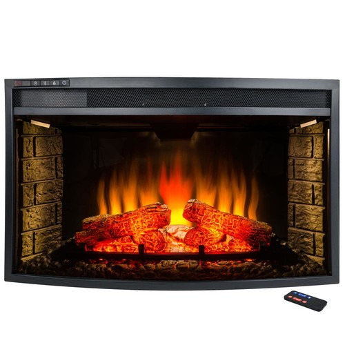 AKDY 33 in. Freestanding Electric Fireplace Insert Heater in Black with Curved Tempered Glass and Remote Control