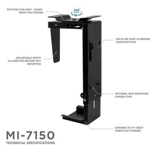 Mount-It! MI-7150 CPU Under Desk Mount Tower Holder