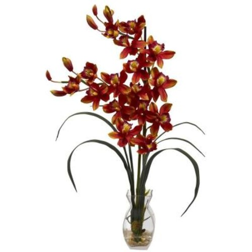 Nearly Natural Cymbidium Orchid with Vase Arrangement in Burgundy