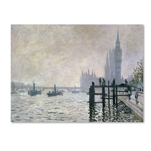 Trademark Global Claude Monet 'The Thames Below Westminster' Canvas Art [Overall Dimensions : 30x47]
