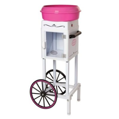 Nostalgia Electrics Cotton Candy Cart in White/Pink