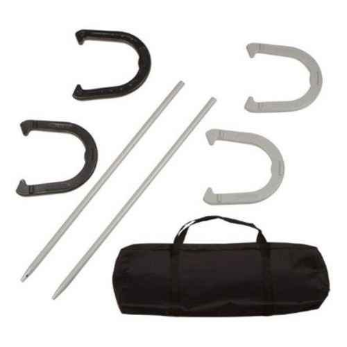Trademark Innovations Premium Reinforced Carbon Steel Horseshoe Set with Carry Bag - Black/Gray