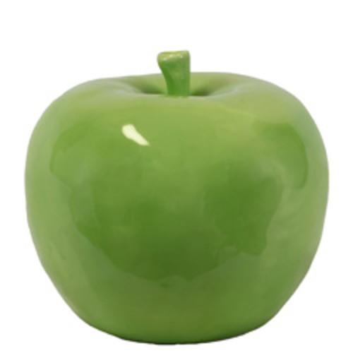 Glossy Green Finish Ceramic Apple Figurine Large