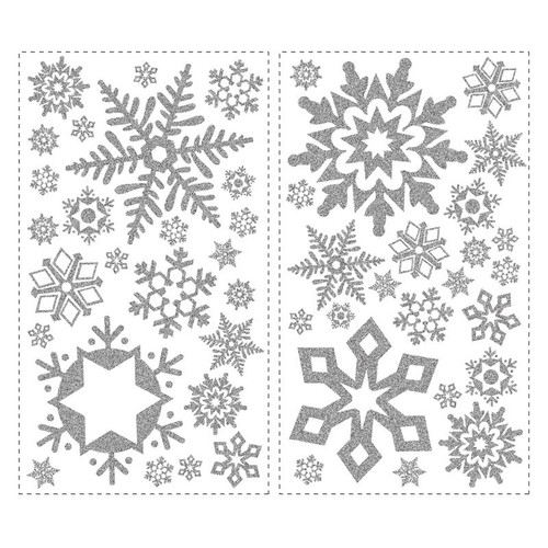 RoomMates RMK1413SCS Glitter Snowflakes Peel & Stick Wall Decals, 47 Count [1, Snowflakes]