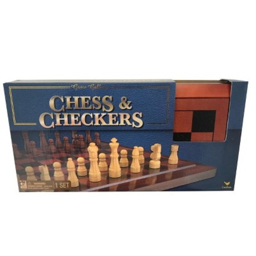Deluxe Staunton Wood Tournament Size Chess & Checkers Board Game Set