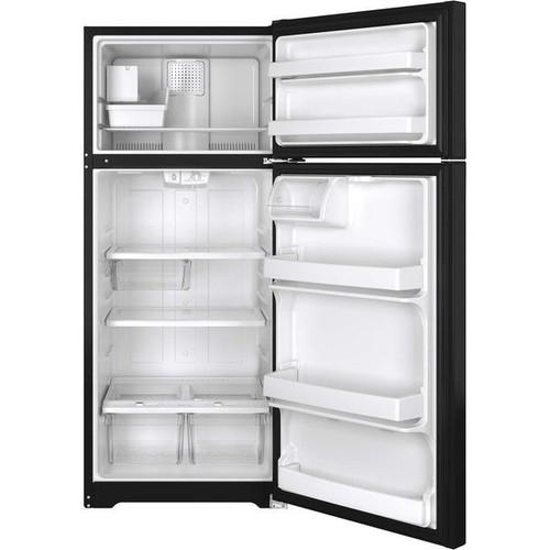 GE Energy Star Black 17.5 Cu.Ft. Top-Freezer Refrigerator
