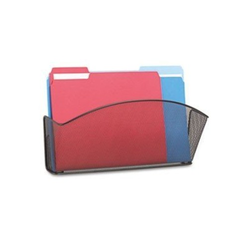 Safco Products 5653BL Onyx Mesh Single Pocket Wall Rack, Legal Size, Black [1 Pocket Legal]