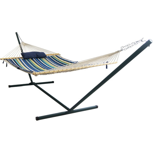 Blue Wave Island Retreat 15 ft. Stainless Steel Arc Hammock Set in Blue Cover