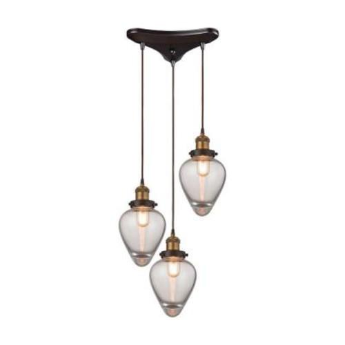 Titan Lighting Bartram 3-Light Oil Rubbed Bronze and Antique Brass Pendant