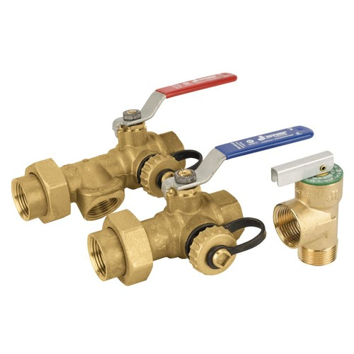 Jomar 3/4 in. Threaded Lead Free Tankless Water Heater Valve Kit