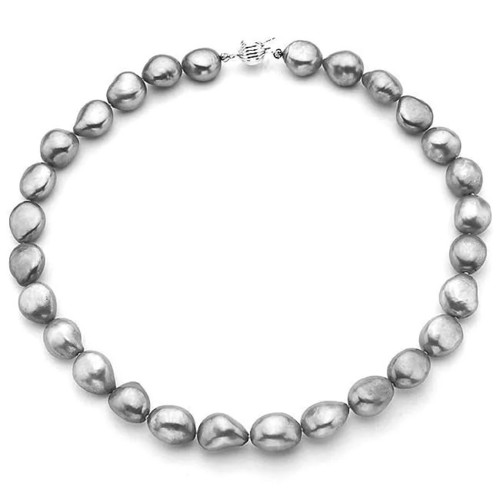 Pearlyta Sterling Silver Grey Baroque Pearl Necklace (13-14 mm)