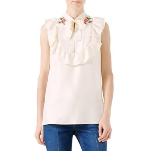 GUCCI Embroidered Silk Twill Blouse