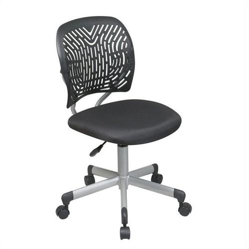 Office Star Designer Task Chair in Fabric and Plastic Back, Black [Black]