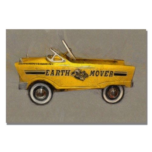 Trademark Global Michelle Calkins 'Earth Mover Pedal Car' Canvas Art [Overall Dimensions : 35x47]