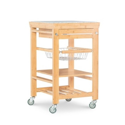 Kitchen Cart with Granite Top Wood/Natural - Linon Home Decor
