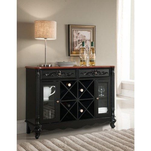 K and B Furniture Black and Walnut Wood Storage Wine Cabinet - buffet