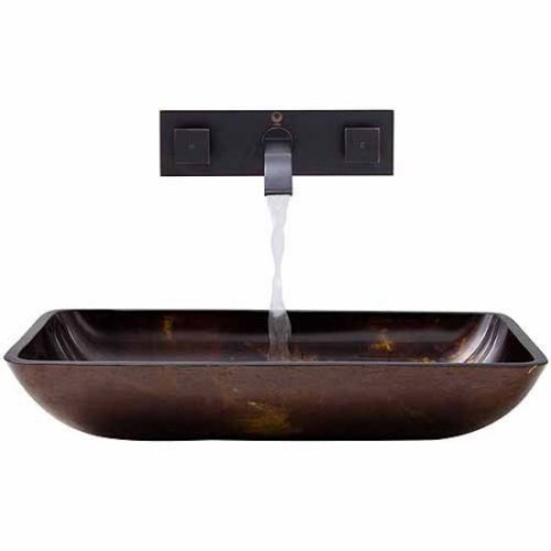 VIGO Rectangular Brown and Gold Fusion Glass Vessel Sink and Wall Mount Faucet Set in Antique Rubbed Bronze