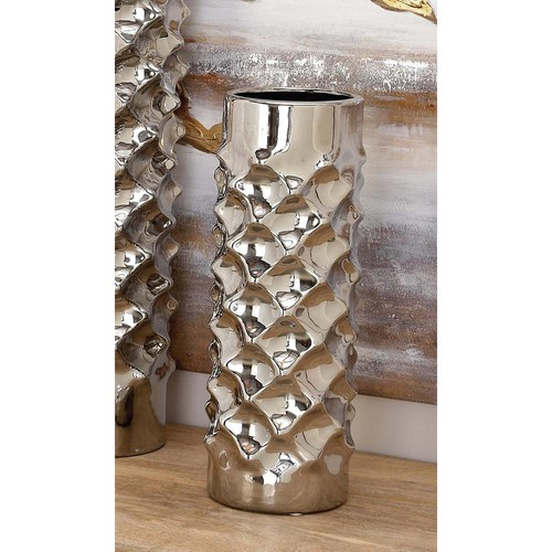 15 in. Ceramic Dimpled Decorative Vase in Silver