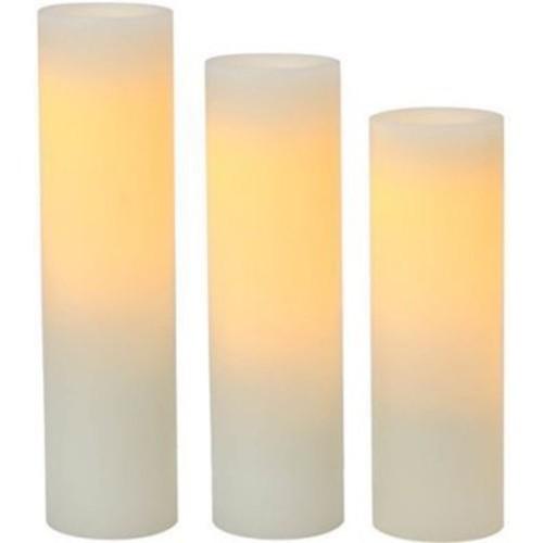 Inglow Plastic Slim Pillar LED Flameless Candle Cream, 3-Pack (CGT63538CR3)