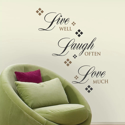 Roommates 10 in. x 18 in. Live, Laugh Love Wall Decals (RMK1396SCS)