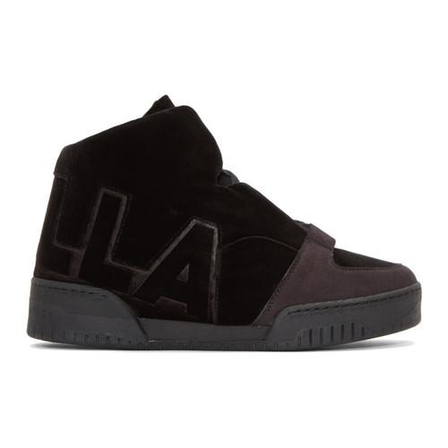 STELLA MCCARTNEY Black Velvet 'Stella' High-Top Sneakers