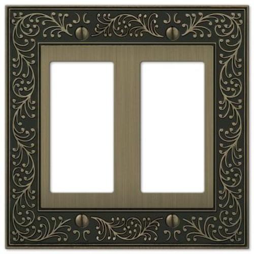 English Garden 2-Gang Decora Wall Plate - Brushed Brass