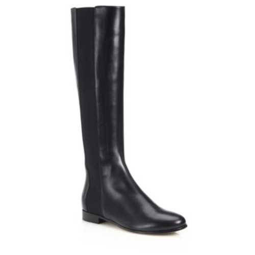 JIMMY CHOO Faith Knee-High Leather & Stretch Boots