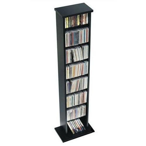 Black Slim Multimedia Storage Tower [Black, Slim Multimedia Storage Tower]