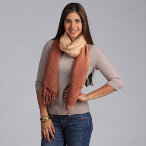 Solid Brown Lightweight Pure Cotton Fringed Scarf