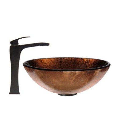Vigo Russet Glass Vessel Sink and Blackstonian Faucet Set in Rubbed Bronze