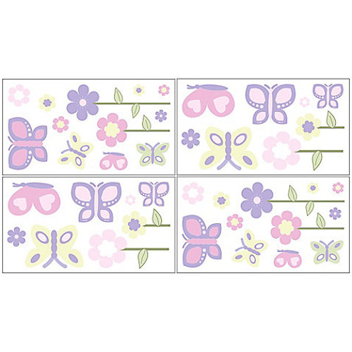 Sweet Jojo Designs Butterfly Wall Decal Stickers in Pink/Purple