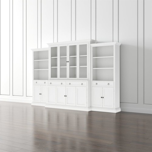 Cameo 4-Piece Modular White Glass Door Wall Unit: Media Console, Hutch with Glass Doors, Modular Left and Right Storage Bookcases.
