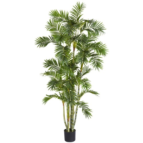 Nearly Natural 5337 Areca Palm Silk Tree, 6-Feet, Green [Green, 6 ft.]
