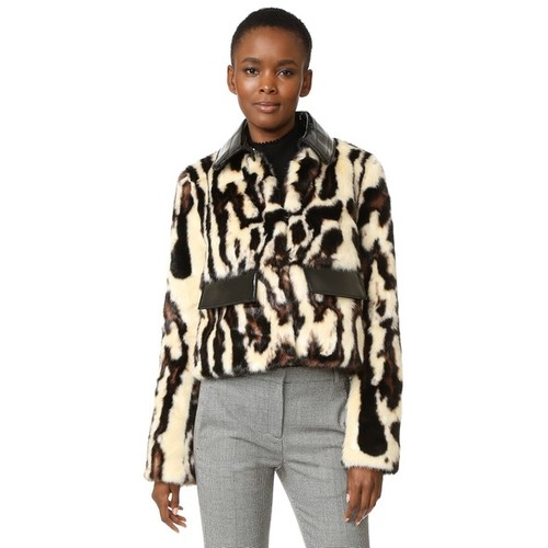 CARVEN Faux Leopard Coat