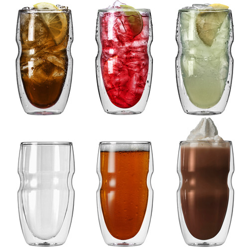 Ozeri Serafino Double Wall 16 oz Iced Tea & Coffee Glasses - Set of 6 Insulated Drinking Glasses