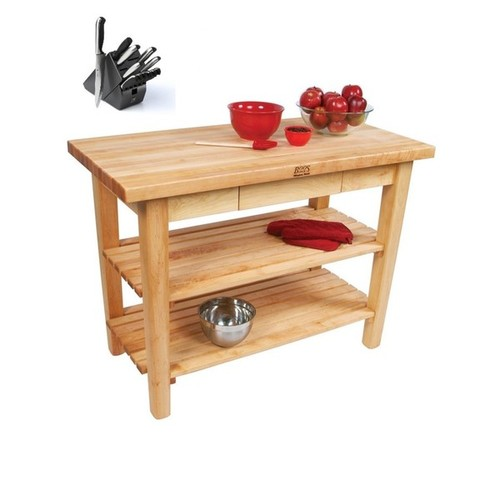 John Boos C10C-D-2S Country Maple 48x36 Work Table with Casters / Drawer / 2 Shelves and Henckels 13-piece Knife Block Set