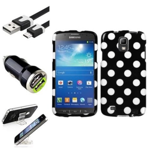 INSTEN Black Polka Dots Hard Case+USB+Charger+Holder For Samsung Galaxy S4 Active i537