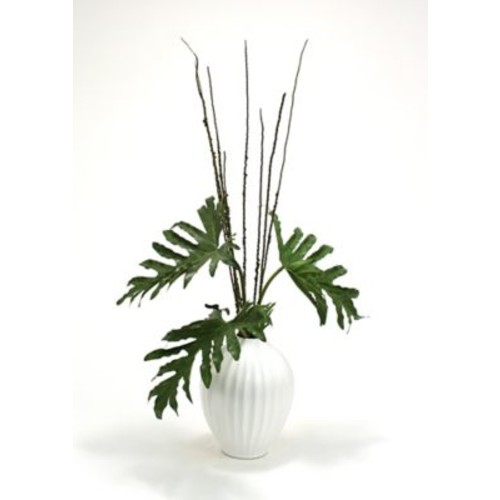 Distinctive Designs Silk Selloum Philodendron Mix Floor Plant in Decorative Vase
