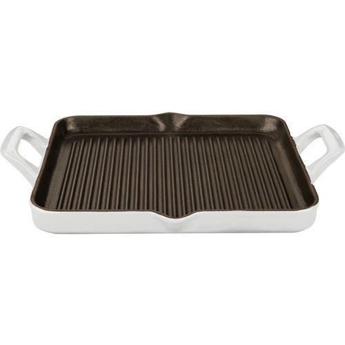 La Cuisine 1 Qt. Cast Iron Rectangular Grill Pan with White Enamel