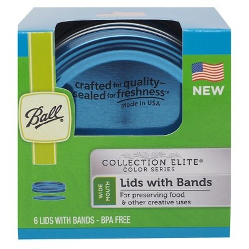 Ball Collection Elite Blue Wide Mouth Lids and Bands (Pack of 6)