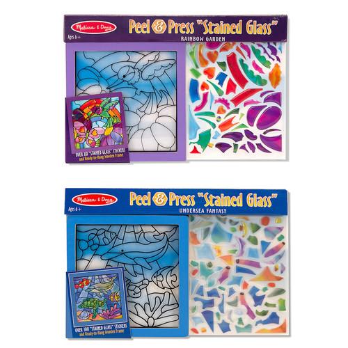 Melissa & Doug Peel & Press Stained Glass Bundle - Rainbow Garden and Undersea Fantasy