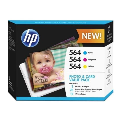 HP Inc. 564 Photo and Card Value Pack - 3-pack - yellow, cyan, magenta - print cartridge / paper kit - for Deskjet 35XX; Photosmart 5522, 55XX B111, 65XX B211, 7510 C311, 7520, eStation C510 (J2X80AN#140)