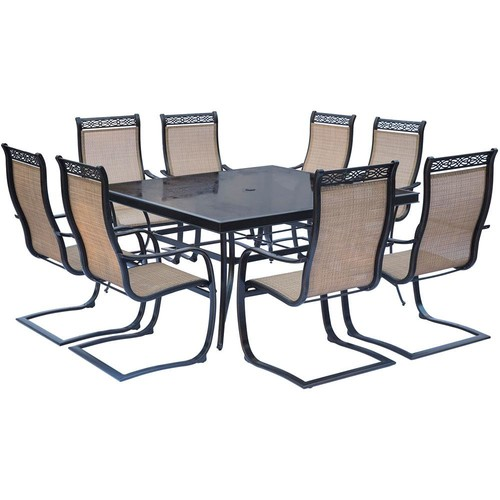 Hanover Monaco 9-Piece Aluminum Outdoor Dining Set with Square Glass-Top Table and Contoured Sling Spring Chairs