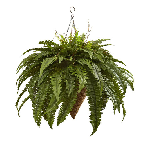 Nearly Natural 6872 26-in Giant Boston Fern with Cone Hanging