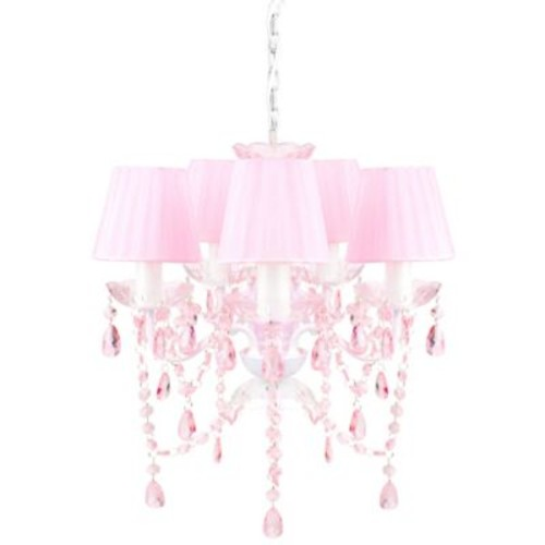 Tadpoles by Sleeping Partners 5-Bulb Shaded Chandelier in Pink Sapphire