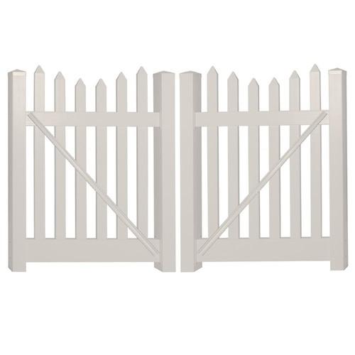 Weatherables Hampshire 8 ft. W x 4 ft. H Tan Vinyl Picket Fence Gate