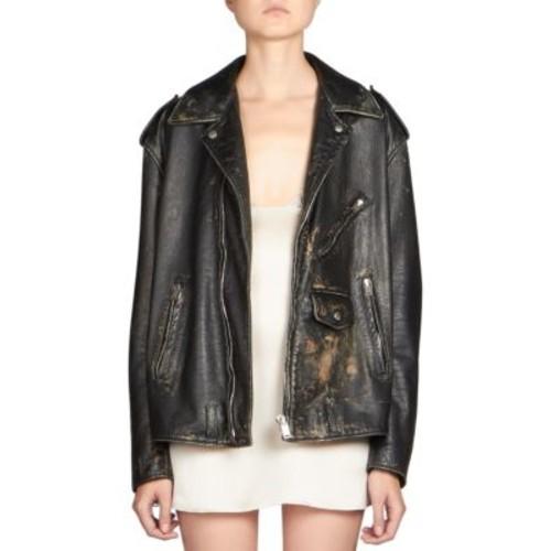 SAINT LAURENT Oversized Leather Moto Jacket