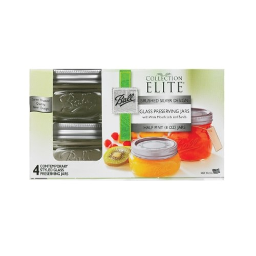 Ball 8oz Elite Collection Wide Mouth Canning Jars (1440061162) - 4 Pack of 4
