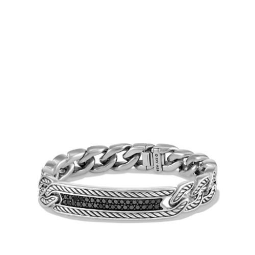 Maritime Curb Link ID Bracelet with Black Diamonds