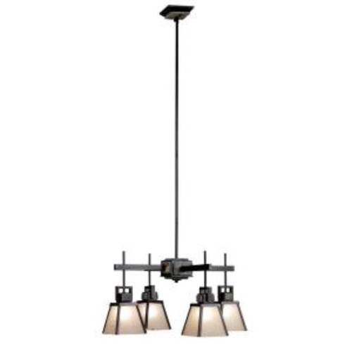 Kenroy Home Clean Slate 4-Light Oil Rubbed Bronze Chandelier with Natural Slate Shade